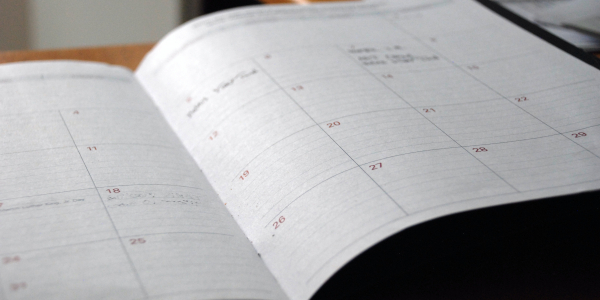 open calendar on desk