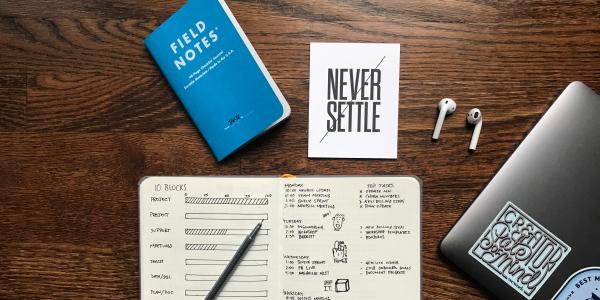 Notebooks on desk